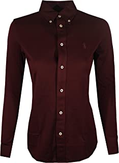 Polo Ralph Lauren Womens Knit Oxford Shirt (X-Small, Burgundy)