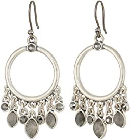 Pave Stone Hoop Earrings