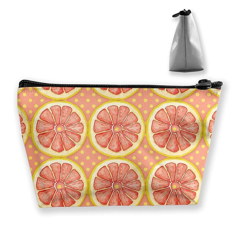 場合法律加入台形 レディース 化粧ポーチ トラベルポーチ 旅行 ハンドバッグ 柑橘パターン コスメ メイクポーチ コイン 鍵 小物入れ 化粧品 収納ケース