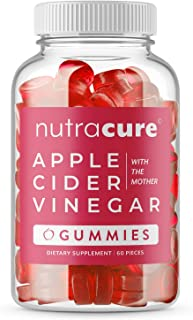 Nutracure Apple Cider Vinegar Gummies for Detox, Cleanse & Weight Management - Non-GMO ACV Gummies with The Mother - 60 Ve...