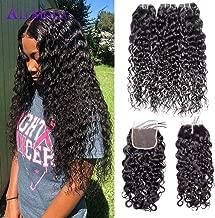Ali Moda Brazilian Hair Water Wave Bundles with Closure 8A Virgin 100% Human Hair Bundles Water Wave Free Part Closure Natural Color (14 16 18+14)