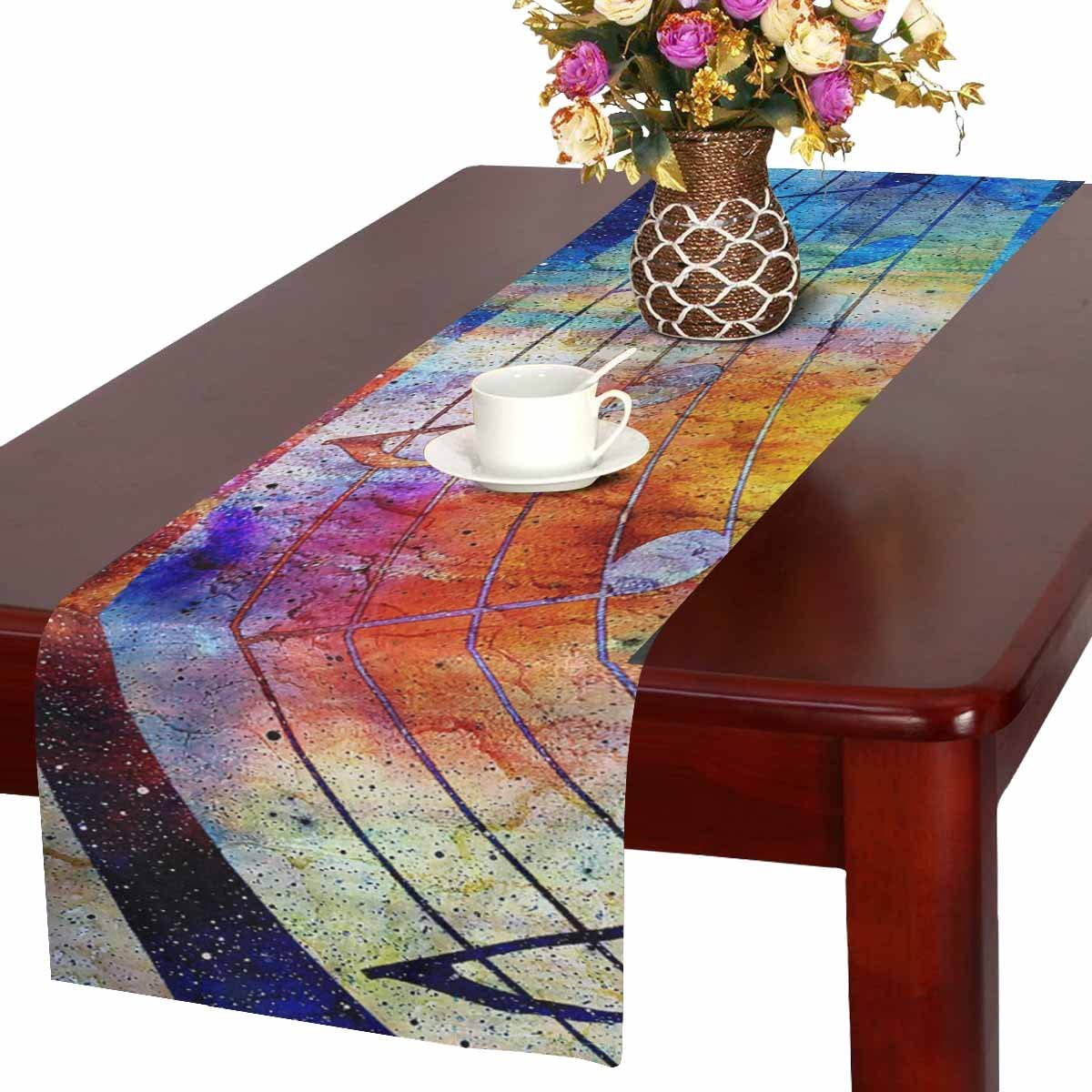 InterestPrint Grunge Retro Musical Background with Music Notes Table Runner  Linen & Cotton Cloth Placemat Home Decor for Kitchen Dining Wedding Party  ...