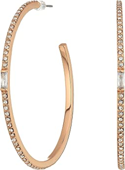 LAUREN Ralph Lauren Pave & Baguette Stone Hoop Earrings