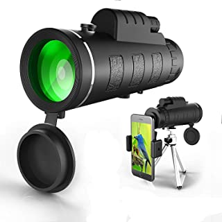Monocular Telescope 12X50 High Power Spotting Scopes - Low Night Vision with Phone Clip and Tripod for Cell Phone (Monocular)