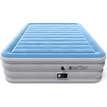 Flocked Top Airbed for Home SPREEY Air Mattress Twin and Queen Size with Built-in Electric Pump and Storage Bag Office and Outdoor