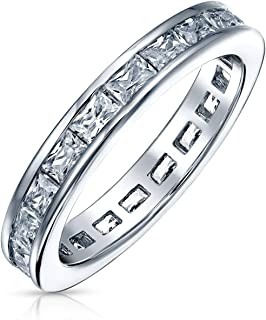 Simple Cubic Zirconia Channel Princess Cut CZ Stackable Wedding Band Eternity Ring For Women 925 Sterling Silver 2MM