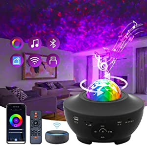 Galaxy Star Projector Sky Lite, SAUDIO Night Light 3 in 1 Smart Star Projector Compatible with Alexa , Google Assistant for Baby Kids Bedroom/Game Rooms/Home Theater with Bluetooth Speaker