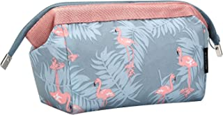 HOYOFO Makeup Pouch Travel Cosmetic Bags (Blue Flamingo)