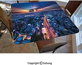Urban Polyester Fitted Tablecloth,Bangkok Skyline at Sunset Evening Thailand Cityscape Metropolis Architectural Photo Square Elastic Edge Fitted Table Cover,Fits Square Tables 36x36 Blue Coral