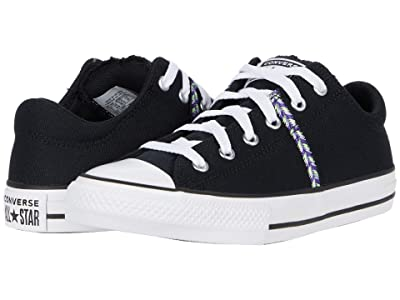 Converse Kids Chuck Taylor(r) All Star(r) Madison Friendship Bracelet Ox (Little Kid/Big Kid) (Black/Moonstone Violet/White) Girl