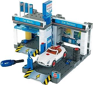 Theo Klein 8647 Estación de servicio Car Service, Con tren de lavado y plataforma elevadora regulable, Incluye coche desmo...