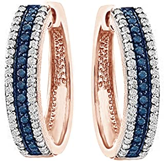 (1.1 Ct) Round Cut Blue & White Natural Diamond Hoop Earrings In 14K Gold Over Sterling Silver