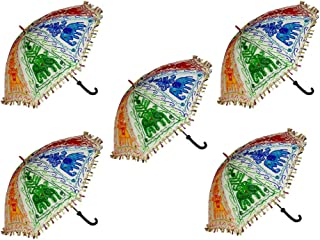 Hare Krishna Indian Cotton Embroidered Umbrella Wedding Ladies Sun Protect Parasol Wholesale 10 Pcs Lot