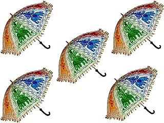 Hare Krishna Indian Cotton Embroidered Umbrella Wedding Ladies Sun Protect Parasol Wholesale 10 Pcs Lot