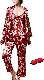 IDORIC Women/Men Pajama Sets 3pcs Silk Sleepwear Sets Cami Nightwear PJS Set with Matching Eye Mask Gift