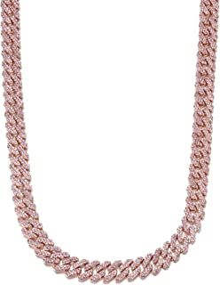 FEEL STYLE Cuban Link Chain Diamond Miami Cuban Necklace 12mm Pink Crystal Bling Iced Out Necklace for Men Women Hip Hop J...
