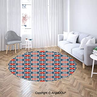 AngelDOU Printed Soft Boys and Girls Round Area Rug Grid Style Squares with Diagonal Lines and Circles Middle Eastern Sofa Chair Decor Anti-Slip Floor Mats