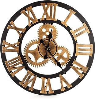 BEAMNOVA Large Wall Clock Decorative for Living Room Decor Steampunk Farmhouse Rustic Vintage Wall Décor Timer, Bronze Roman 16 Inch