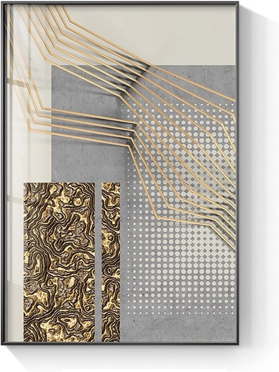 MENGGOO Award-winning store Poster Abstract Geometric Wall Canvas Painting Limited price Golde Art