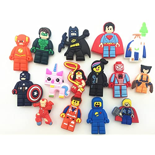 68cb66cab 15 Pcs Cute Super Hero Movie Shoe Charms for Croc Shoes   Wristband Bracelet