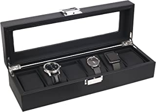 Mantello 6-Watch Box Carbon Fiber Design with Glass Top