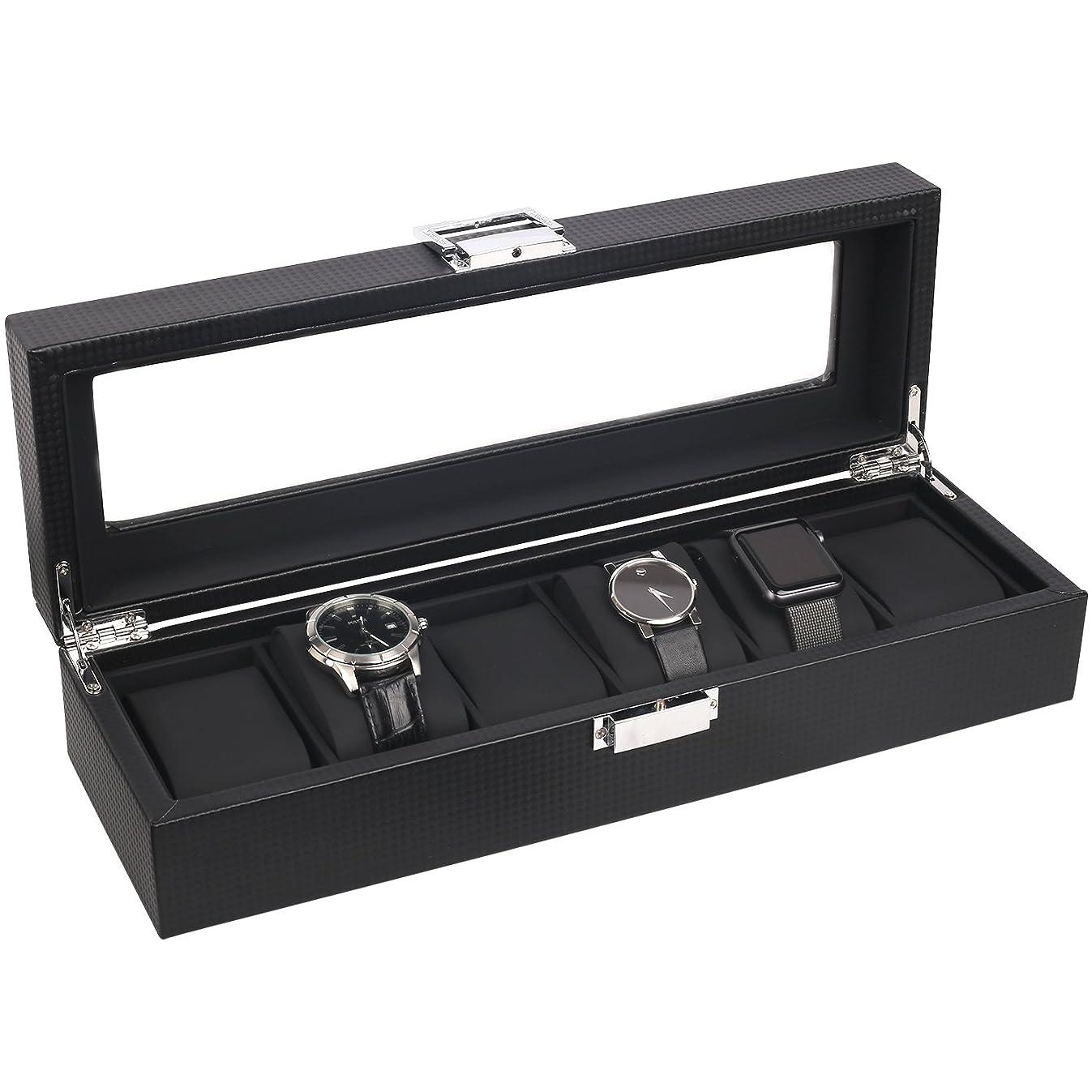 Mantello 6-Watch Box Carbon Fiber Design with Glass Top