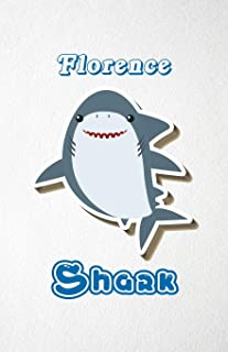 Florence Shark A5 Lined Notebook 110 Pages: Funny Blank Journal For Family Baby Shark Birthday Sea Ocean Animal Relative F...