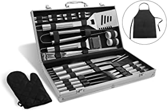 Albessel Professional BBQ Grill Tool Set,Stainless Steel BBQ Grill Set,Outdoor BBQ Grill Tool Set - 33 Pieces with Case