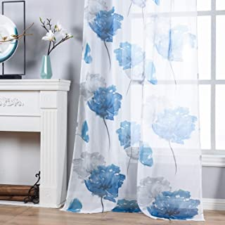 Contemporary Watercolor Petal Print Curtains 84 Inch Length 2 Pieces Blue Flower Curtains for Patio Glass Door,Ornamental Grommet Floral Sheer Curtains,2 Panel Set,54W ×84L Inches,Blue-Grey