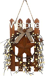 D.I. Inc Welcome Wood Metal Star 3D Rustic Sign Wreath Wall Barn Front Door Decor Indoor Outdoor 16
