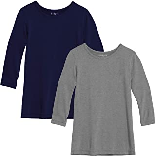 KIDPIK Layering Tee Shirt for Girls 2PK | Long Sleeve Tee Ages 4 and Up