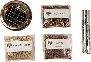 Purecense - Resin Incense Burner Set - Frankincense, Myrrh, Brass Carved Screen Charcoal Burner with Coaster, Charcoal Tablets, and Bonus Specialty Blend