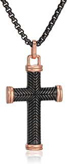 Mens Two-Tone Textured Cross Necklace with 18