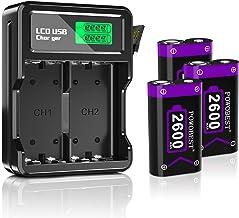 بسته باتری کنترل کننده POWOBEST برای Xbox Series X / S Xbox One / Xbox One S / Xbox One X / Xbox Controller Wireless / کنترل کننده هسته Xbox / شارژر باتری LCD پرسرعت با 3 x 2600mAh باتری قابل شارژ