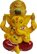 PARIJAT HANDICRAFT The Blessing A Colored Statue of Lord Ganesha Ganpati Elephant Hindu God Idol Made from Polyresin (Yell...