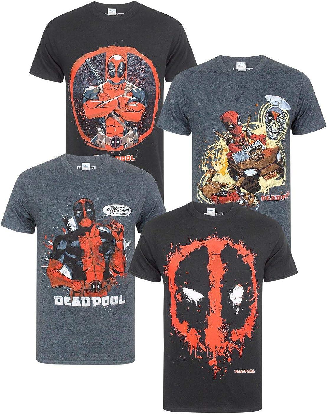 Marvel Deadpool Splat Face T-Shirt Uomo