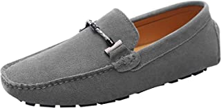 Jamron Mens Stylish Buckle Driving Shoes Suede Loafer Flats
