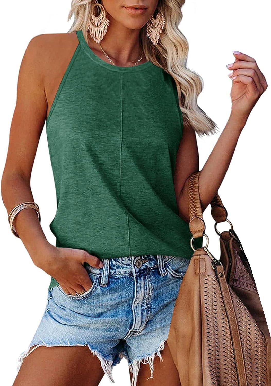 PINKMSTYLE Women's Halter Racerback Cami Tank Top Casual Summer Loose Sleeveless Blouse Shirt