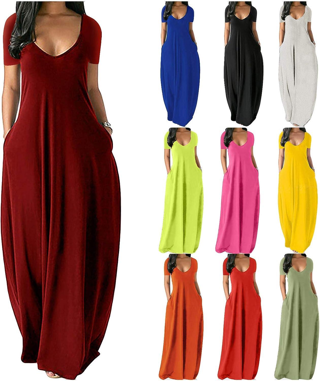 Rainbow Print V Neck Sleeveless Long Dress Women Straps Pockets Boho Maxi Dress