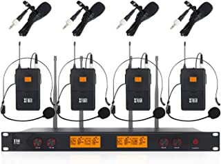 XTUGA A400 Metal receiver 4-Channel UHF Wireless Microphone System with 4 Bodypack for Stage Church Use for Family Party, ...