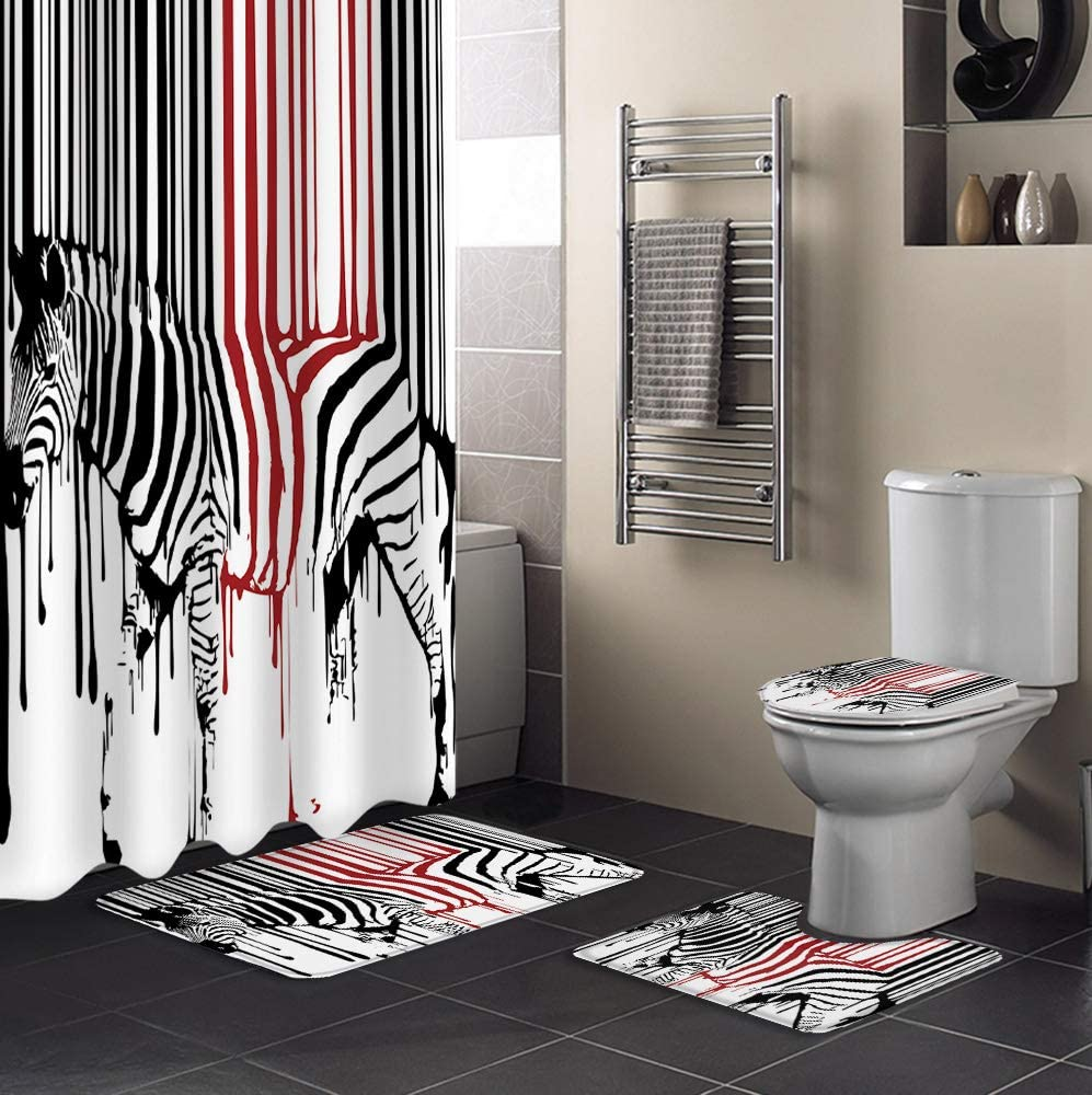 Bathroom Set 4 Piece Shower and Accessories Gra Mats Curtain お得なキャンペーンを実施中 驚きの値段