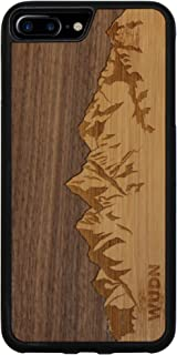 Wooden Phone Case (Sawtooth Mountains   Walnut Sky) Compatible with iPhone 7 Plus, iPhone 8 Plus