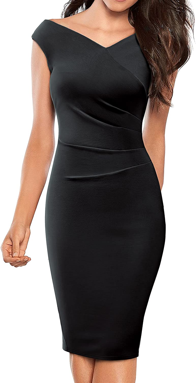 HOMEYEE Women's Business VNeck Sleeveless Pleated Sheath Pencil Dress B440