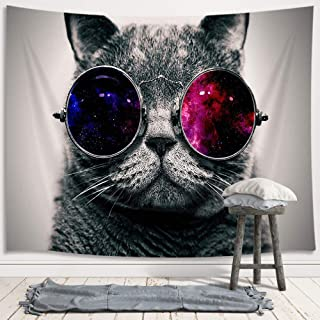 JAWO Cool Cat Tapestry Wall Hanging, Hippie Animal Gray Cat with Galaxy Sunglasses Young Premium Tapestries for Dorm Living Room Bedroom, Wall Blanket Beach Towels Home Decor 71X60 Inches