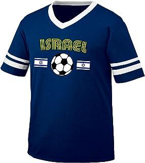 Israel Soccer / Football and Flag Men's Retro Soccer Ringer T-shirt, Amdesco