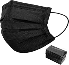50 PCS Black Disposable Face Masks Non-Woven Breathable Dust Mask with Stretchable Earloops Individually Wrapped Black Fac...
