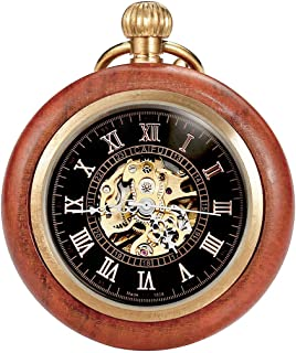 Mechanical Pocket Watch for Men Women Copper Steampunk Skeleton Watch with Chain + Gift Box