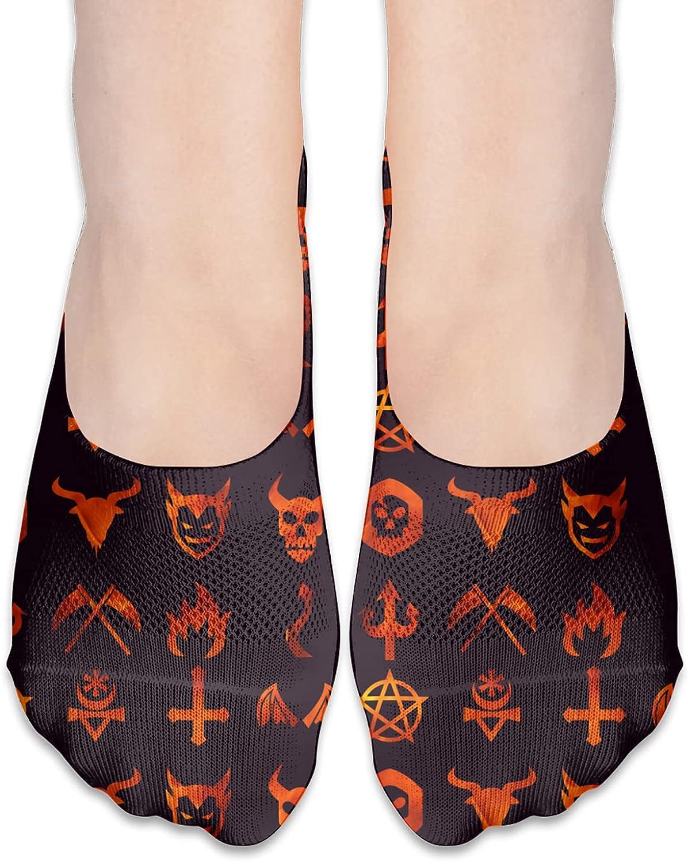 No Show Socks Women Men For Evil Icon Baphomet Fire Flats Cotton Ultra Low Cut Liner Socks Non Slip