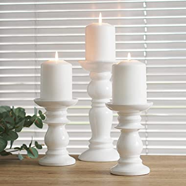 Hosley Set of 3 Ceramic White Pillar Candle Holders Two 6 Inch and One 9.5 Inch High. Ideal for LED and Pillar Candles Gifts