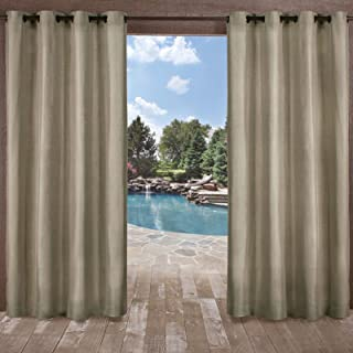 Exclusive Home Curtains Biscayne Indoor/Outdoor Two Tone Textured Grommet Top Curtain Panel Pair, 54x96, Natural, 2 Count